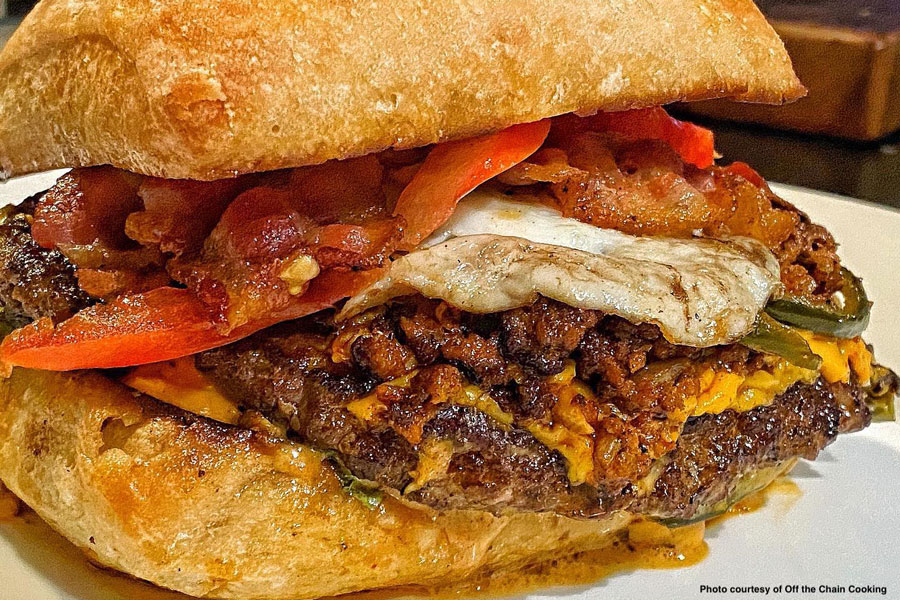 Pork Chorizo Bacon Smash Burgers with a Fried Egg!