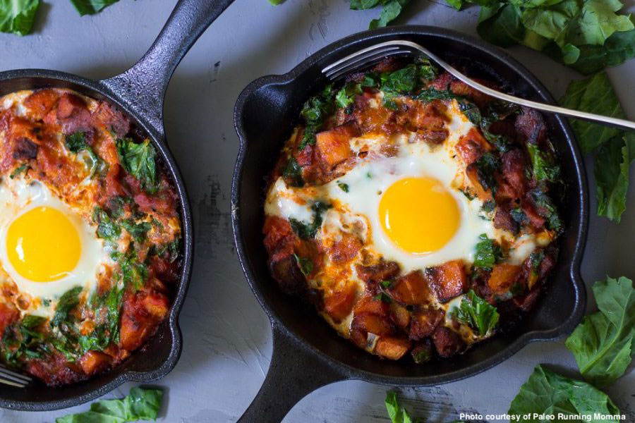 Try This Chorizo Butternut Pizza Hash with Baked Eggs Recipe for Supper!