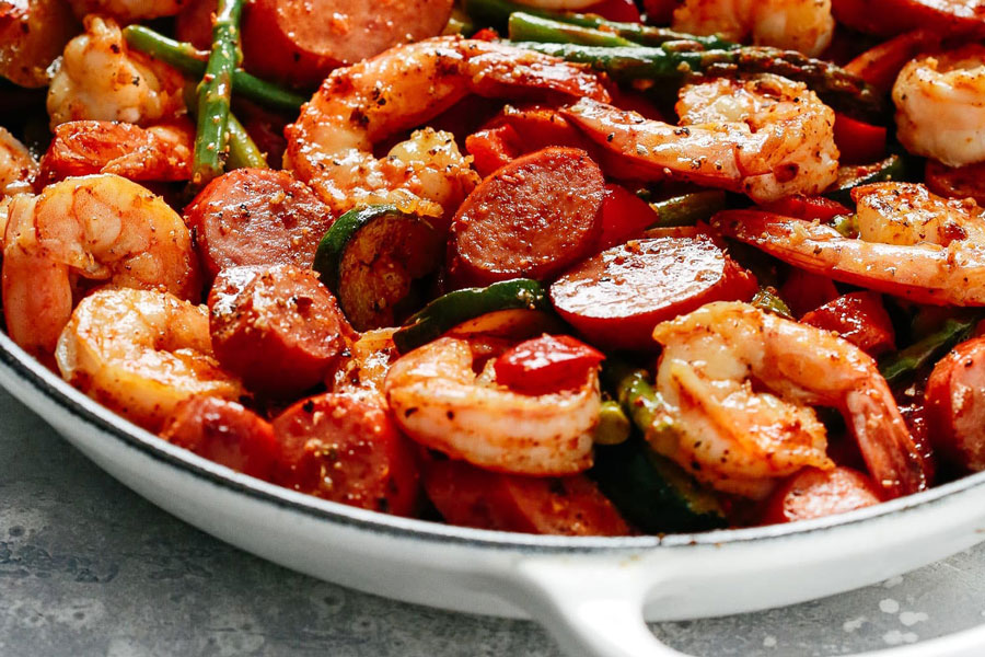 Shrimp and Cilantro Sausage Vegetable Skillet