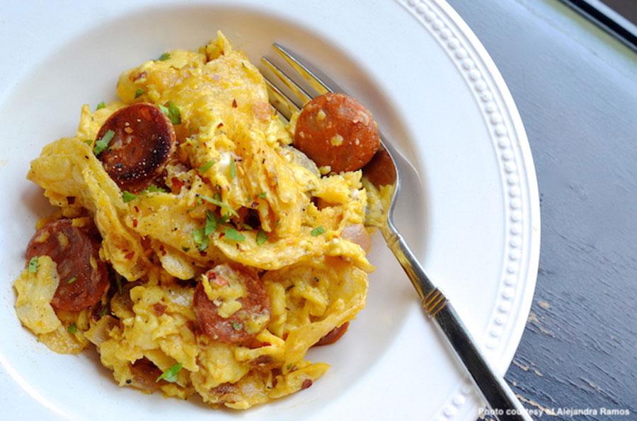 Potato Chip Scrambled Eggs with Cilantro Sausage
