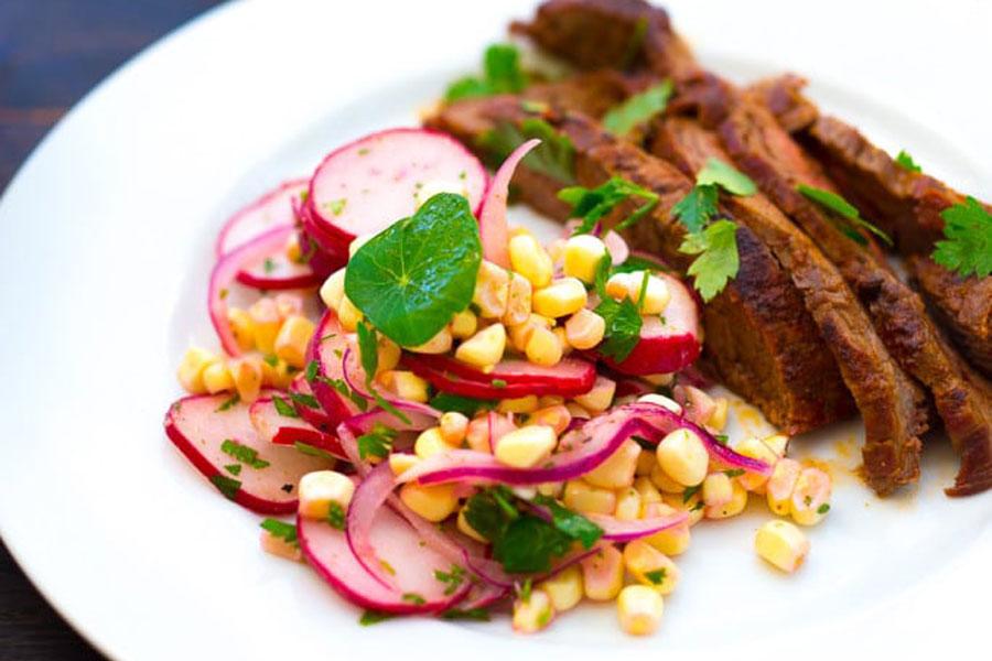 Grilled Fajitas with Corn & Radish Salad