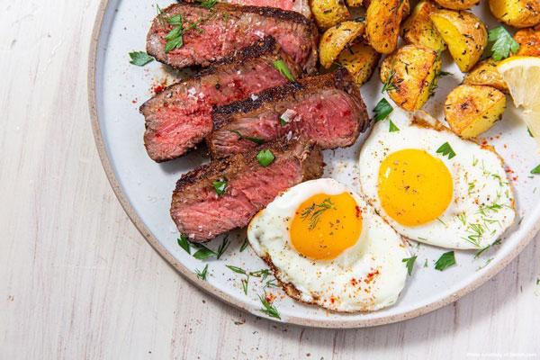 Prime NY Strip Steak and Eggs