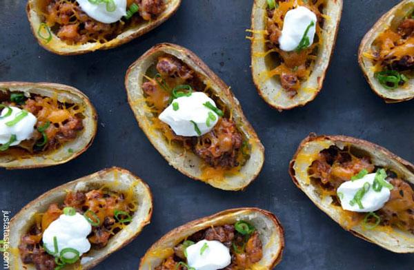 Chorizo and Cheddar Potato Skins