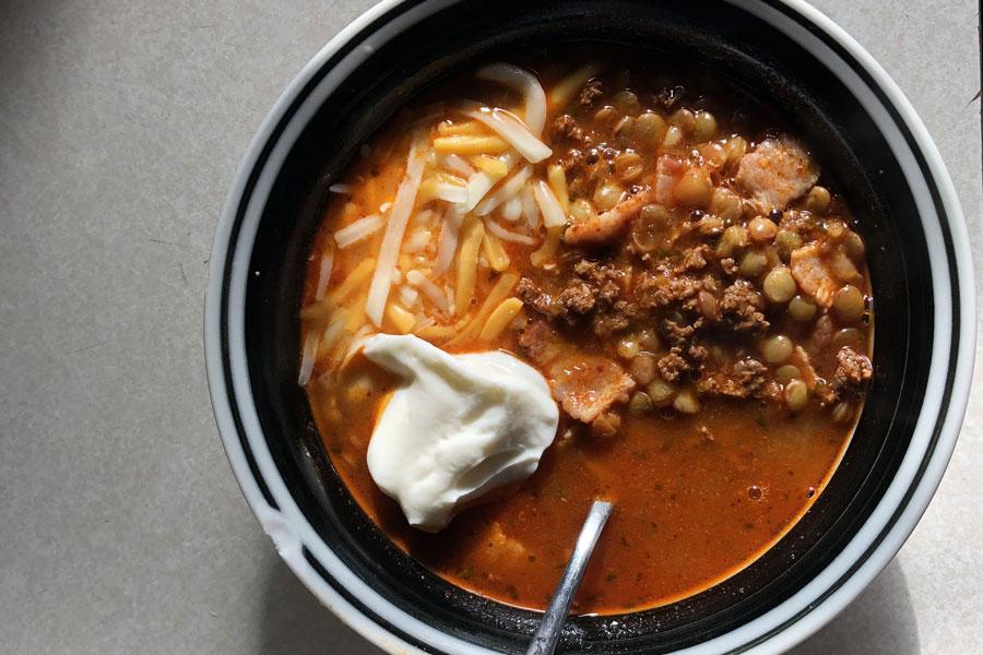 Enjoy A Warm Bowl of Lentils with our Texas Brand Chorizo!